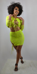 laced Neon Skirt Set
