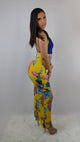 blue and yellow Floral Printed Jumpsuit