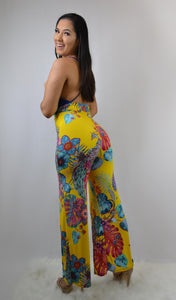 yellow Printed Jumpsuit