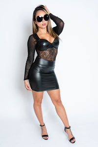 Black leather style skirt