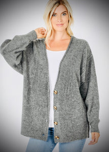 Charcoal Large Button Cardigan