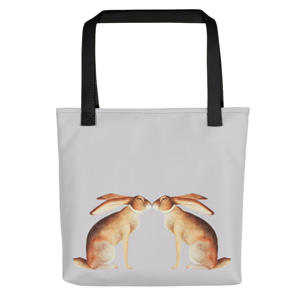 Wild Hare Rabbit Kiss Tote Bag - conkberry