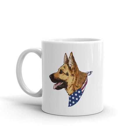 German Shepherd Dog American Flag Bandana Ceramic Mug