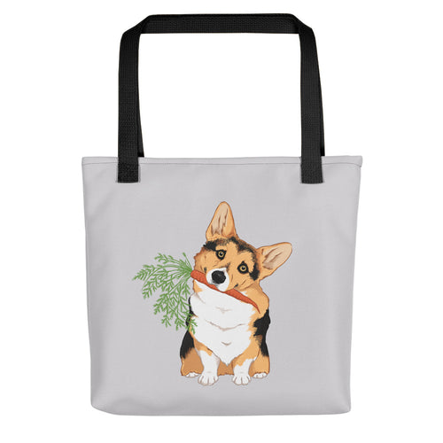 Corgi Dog With Carrot Tote Bag - conkberry