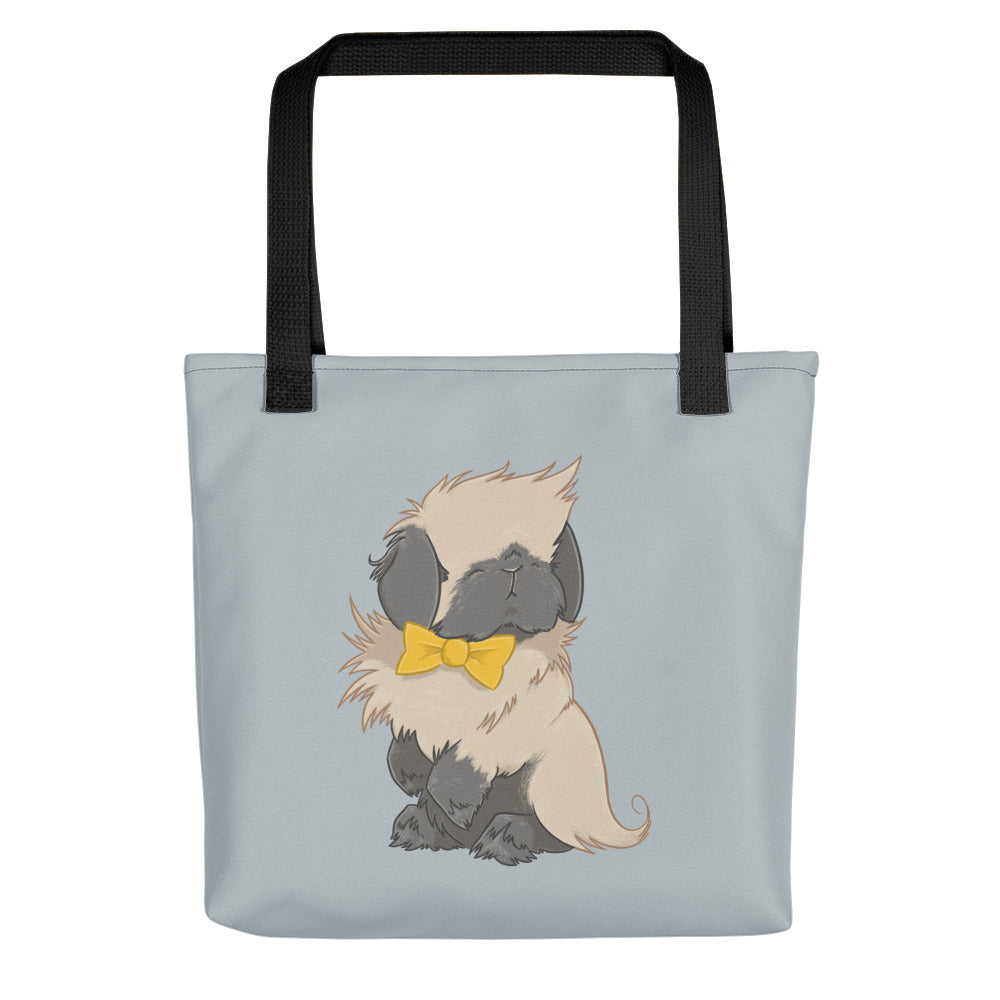 Dapper American Fuzzy Lop Rabbit Bow Tie Tote Bag - conkberry