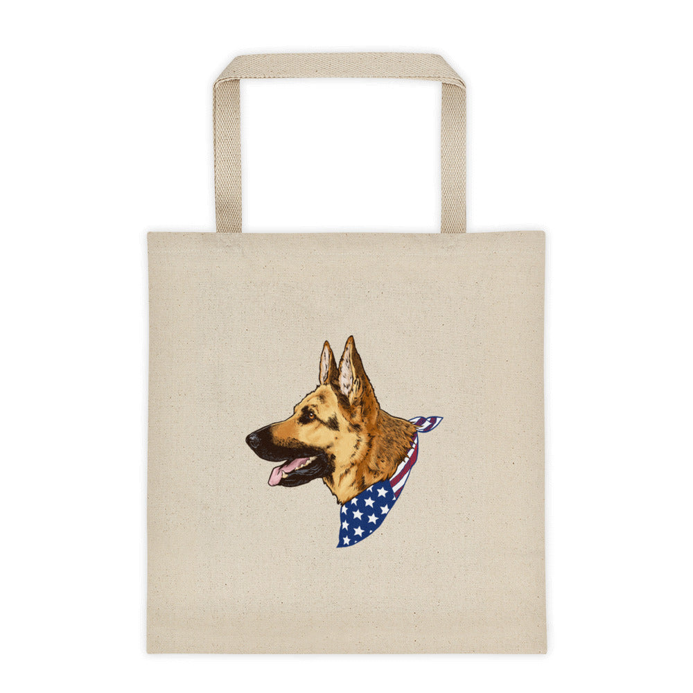 German Shepherd Dog American Flag Bandana Natural Cotton Canvas Tote Bag - conkberry