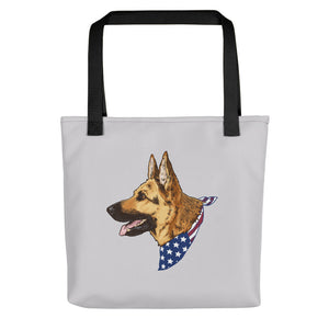 German Shepherd Dog American Flag Bandana Tote Bag - conkberry