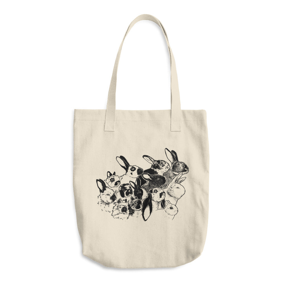 Botanical Bunnies Rabbit Breeds Cotton Tote Bag - conkberry