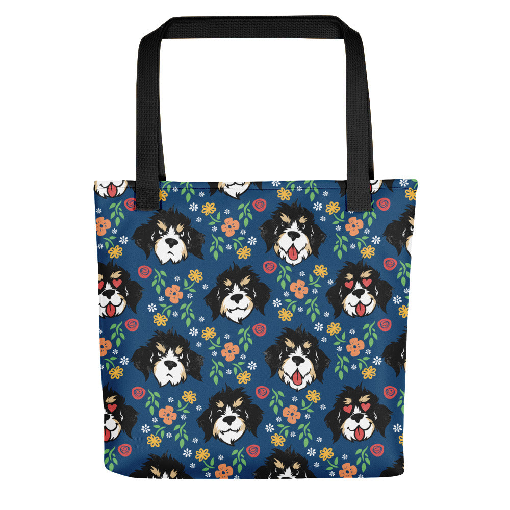 Bruno the Bernerdoodle Dog Expressions Portrait Tote Bag - conkberry
