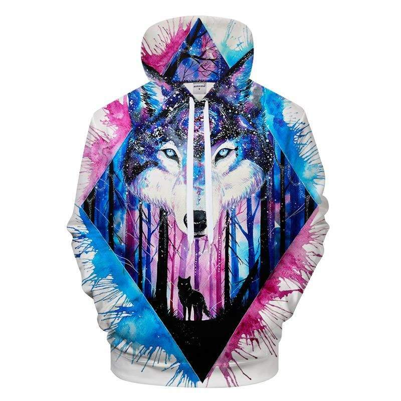 3D Color Splash Wolf Hoodie The Hoodie Store