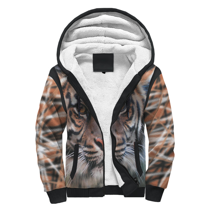 Bengal Tiger With Streaks Sherpa-Lined Hoodie