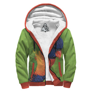 'Playful Parrot C' Sherpa-Lined Hoodie