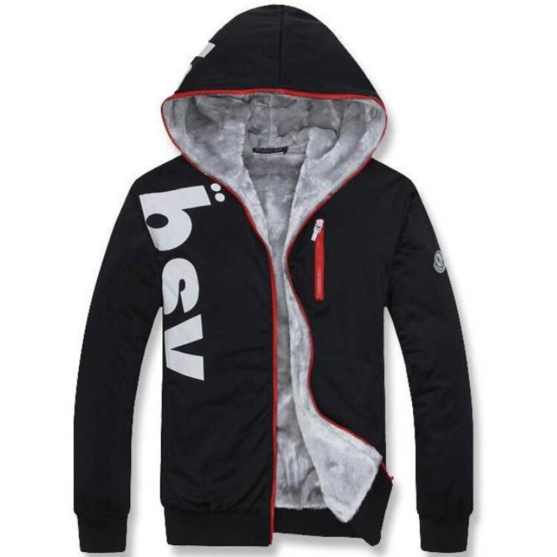 Mens Warm Fleece Lined Hoodie Zipper - The Hoodie Store