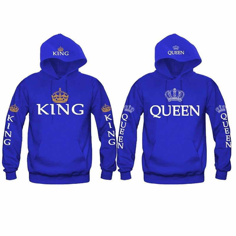 Crown King and Queen Hoodie for Couples