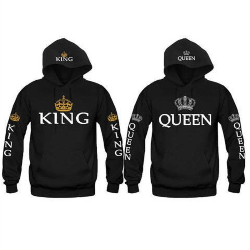 King Queen Crown Couple Hoodies - The Hoodie Store