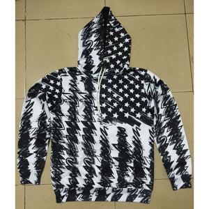 Black And White US Flag - The Hoodie Store