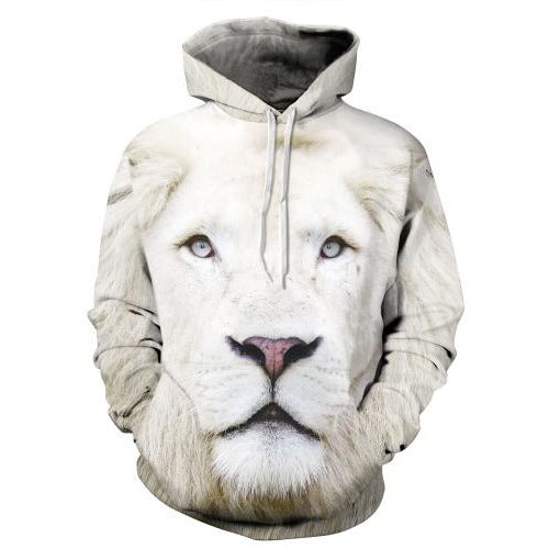 3D White Lion Hoodie - The Hoodie Store