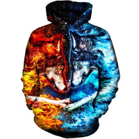 Fire And Ice Wolves Hoodie - The Hoodie Store