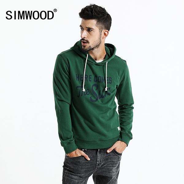 Mens SIMWOOD 2017 Cotton Here Comes The Sun Slim-Fit Hoodie - The Hoodie Store