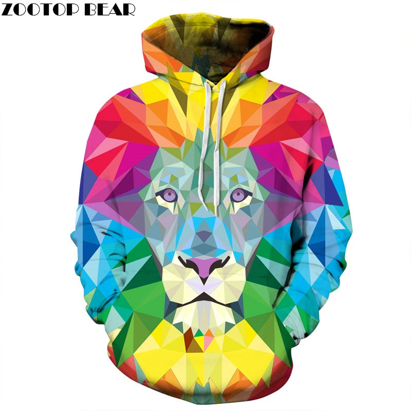 3D Colourful Lion Hoodie - The Hoodie Store