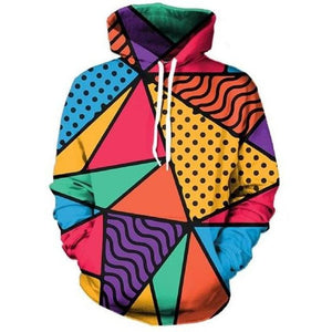 Multi-Colour Geometric Pattern Hoodie - The Hoodie Store