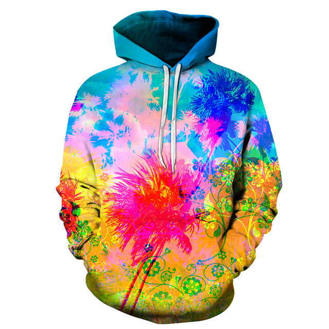 Colourful Splash Paint Floral Hoodie - The Hoodie Store