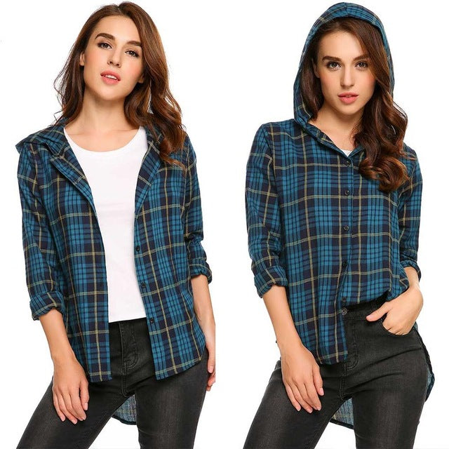 LETEOO Women's Plaid Low Hem Hoodie - The Hoodie Store