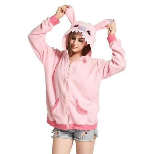 Pink Stitch Animal Theme Hoodie - The Hoodie Store