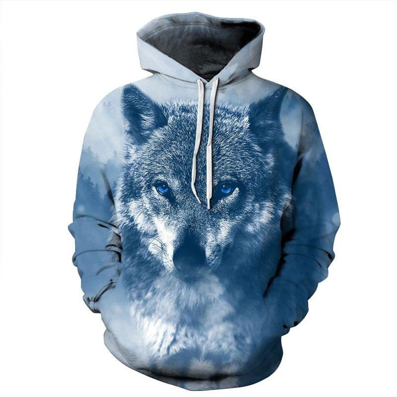 5cd6bec6685e Unisex Winter Wolf 3D Pattern Hoodie