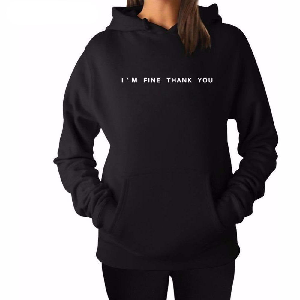 I'M FINE THANK YOU Print Womens Hoodie - The Hoodie Store