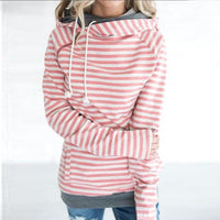 Lossky Double Hooded Striped Drawstring Hoodie - The Hoodie Store