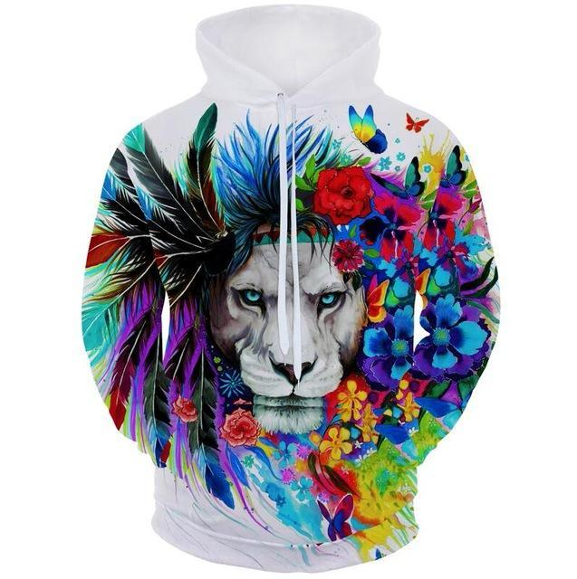 Colourful Flower Lion Hoodie - The Hoodie Store