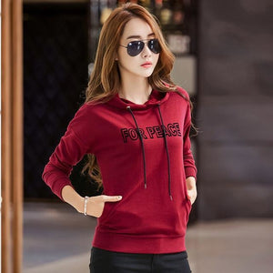 Women's For Peace Korean Style Slim Hoodie - The Hoodie Store