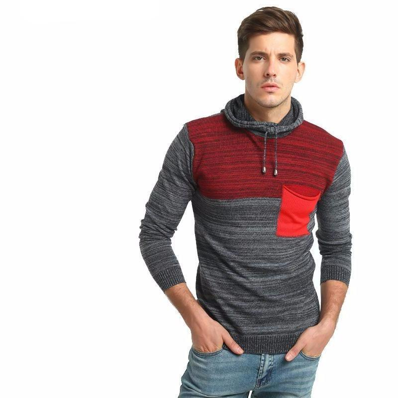 Men's Casual Slim-Fit Knitted Style Patchwork Hoodie - The Hoodie Store