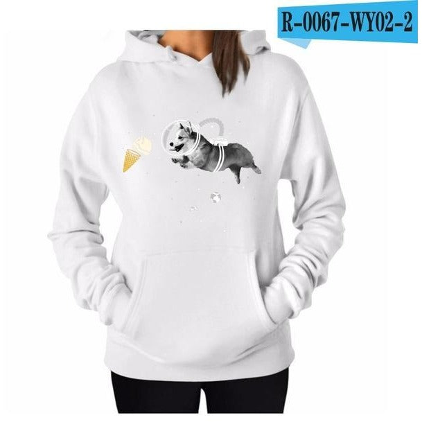Women's Cotton Solid Colour Dog Icecream Hoodie - The Hoodie Store