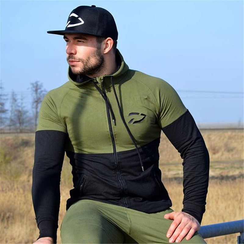 TAOQUHU Men's Splicing Patchwork Gym Workout Hoodie - The Hoodie Store