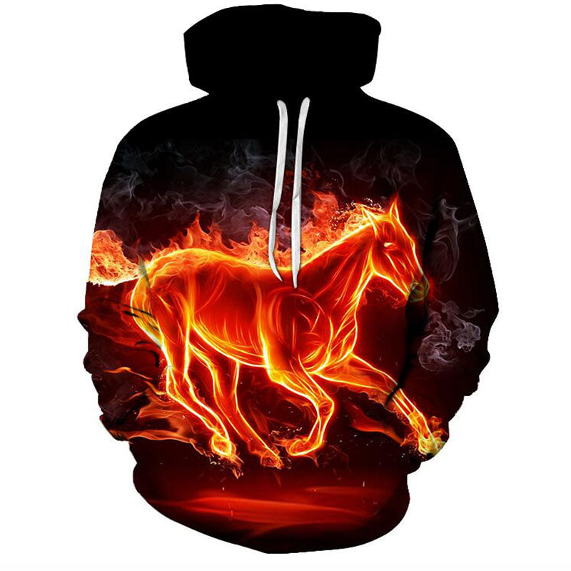 Running Horse In Fire Hoodie - The Hoodie Store