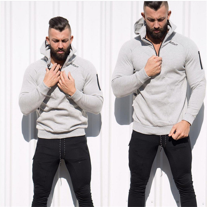 Men's Body Engineers Collar Zip Gym Hoodie - The Hoodie Store