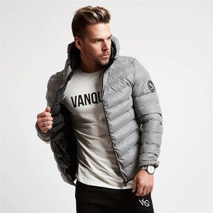 Solid Collar Outerwear Zipped Jacket For Men - The Hoodie Store