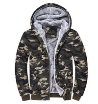 Olive Green Camouflage Zipper Fleece Hoodie - The Hoodie Store