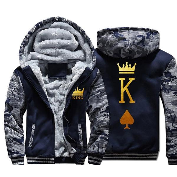 Blue and Grey King Zipper Hoodie - The Hoodie Store
