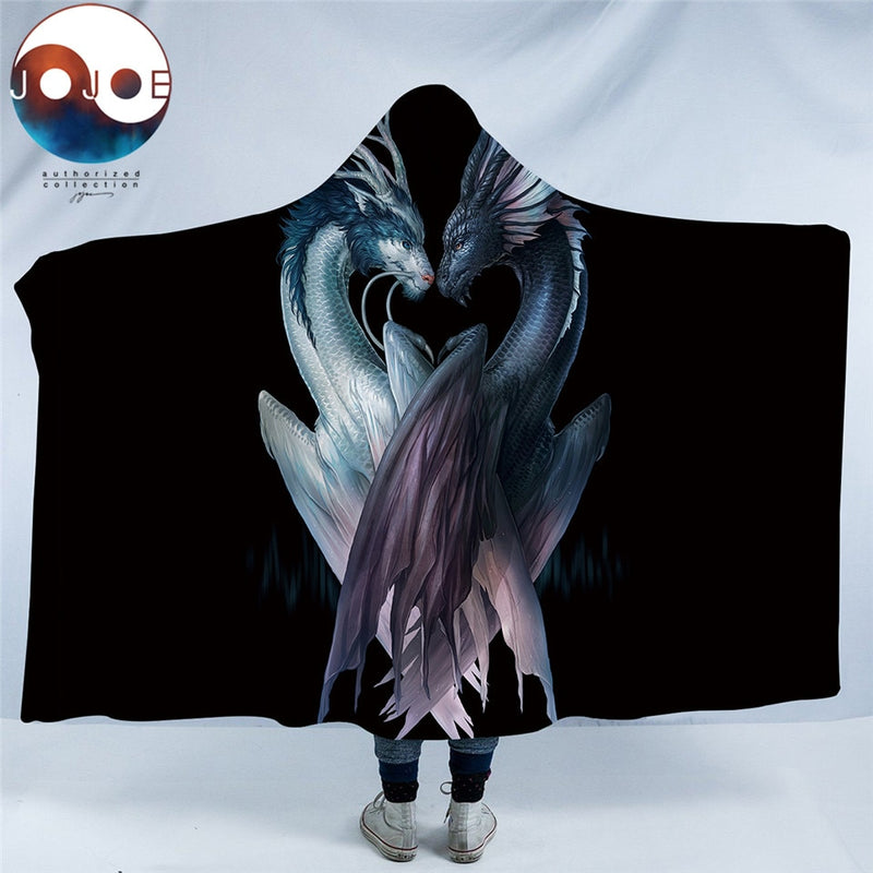 Yin and Yang Dragons Hooded Blanket - The Hoodie Store