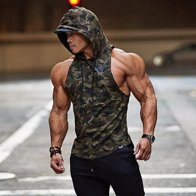 Mens Camouflage Bodybuilding Tank Hoodies - The Hoodie Store
