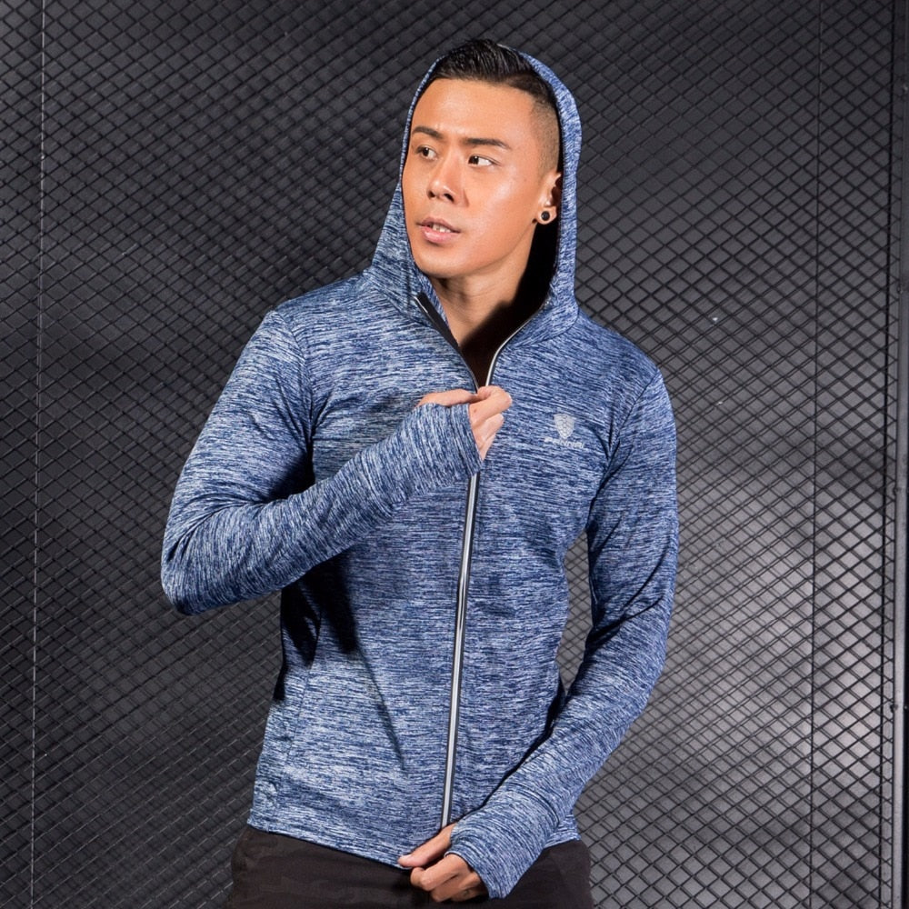 Sporty Hooded Gym Zip Jacket Menswear