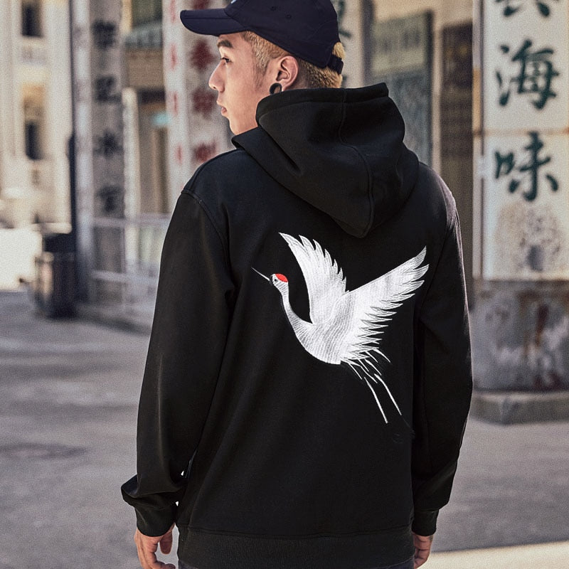 Men's Embroidery Japanese Crane Hoodies - The Hoodie Store
