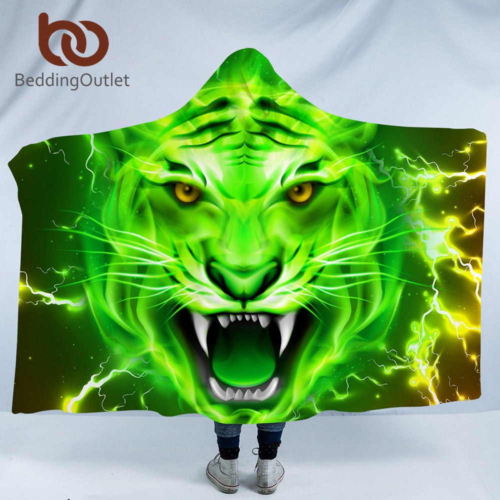 Green Tiger Hooded Blanket - The Hoodie Store