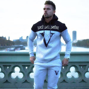 Fashion and Leisure Splicing Gym Hoodie - The Hoodie Store