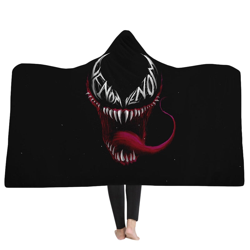 Smiling Venom Black Hooded Blanket - The Hoodie Store