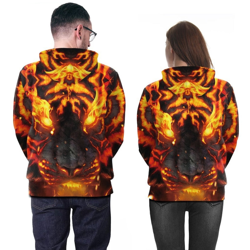 3D Harajuku Printed Animal Flame Hoodie - The Hoodie Store