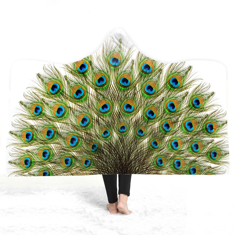 3D peacock Hooded Blanket - The Hoodie Store